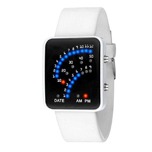 OVERDOSE Damen Herren Futuristische Art Multicolor Sport Armbanduhr (Weiß) (Weißes Gesicht, Schwarze Band-uhr)