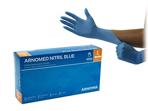 Nitril-Handschuhe blau puderfrei, Größe L, 100 Stück/Box, Einmal-Handschuhe von ARNOMED, Einweg-Handschuhe, Untersuchungs-Handschuhe ungepudert, EN 374, EN 455, LARGE