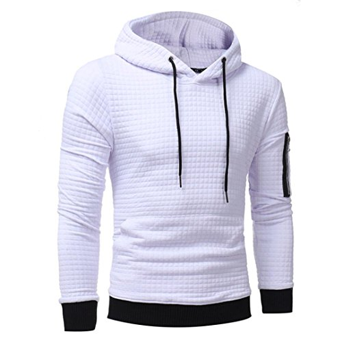 Felpa con Cappuccio Uomo, Beauty Top 2017 Hooded Sweatshirt Manica Lunga Hoodie Cappotto Giacca Pullover Felpe Top Outwear bianca