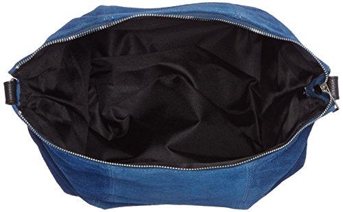 CTM Borsa Zaino da donna, vera pelle scamosciata made in Italy 39x37x3 Cm Blu
