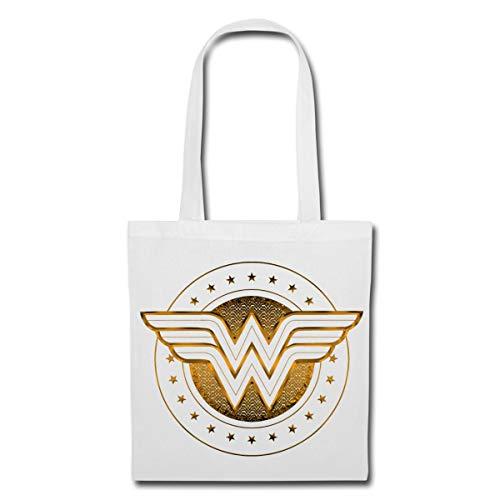 Spreadshirt DC Comics Wonder Woman Logo Mit Sternchen Stoffbeutel, Weiß