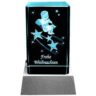 Kaltner-Prsente-Stimmungslicht-LED-KerzeKristall-Glasblock-3D-Laser-Gravur-Engel-mit-Trompete-Schriftzug-Frohe-Weihnachten