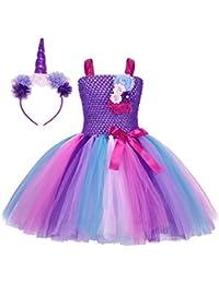 AmzBarley Costume da Principessa in Tulle con Bambine e Unicorno per la  Festa di Compleanno cc8c0429db3