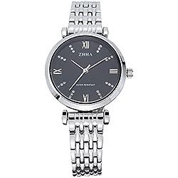 ZHHA Women's 060 Crystal Accent Quartz Black Dial Silver Stainless Steel Bracelet Wrist Watch Waterproof