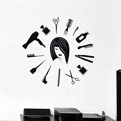 Friseursalon Werkzeuge Friseur weibliche Designer Vinyl Wandtattoos Dekoration Kunst Wandbild Wandaufkleber abnehmbare 55x60cm