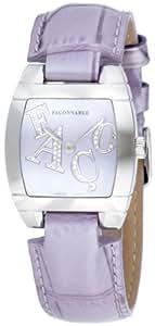 Façonnable - 170009007 - Dôme - Montre Femme Acier - Quartz Analogique - Diamants 0,30 Carat - Bracelet Cuir