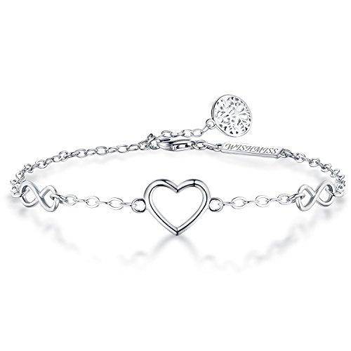 WISHMISS Armband Frauen Mädchen 925 Sterling Silber Damen Schmuck Geschenk für Frauen Mädchen zum Muttertag (Herz Baum Armband) - Leben Jahre