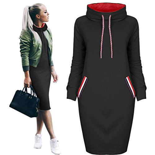 Vestido casual de la camisa del invierno de las mujeres Vestido de manga larga para mujer Sudadera con capucha Mujeres By LMMVP (XL, Negro)