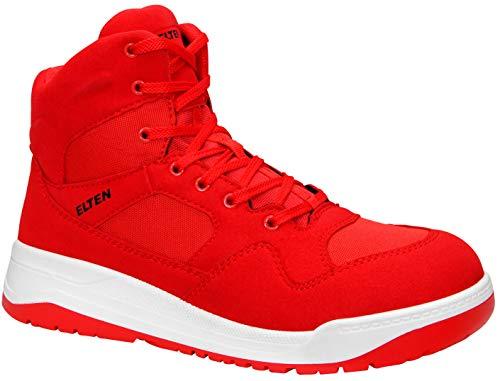 ELTEN Maverick Red Mid ESD S3 Herren Sicherheitsschuhe, Arbeitsschuhe, Sicherheitsschnürstiefel, Zertifiziert Nach En ISO 20345 : S3, Stahlkappe (Rot), EU 43
