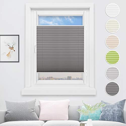 HOMEDEMO Plissee Klemmfix Rollo ohne Bohren 40x130 cm Rollo für Fenster Sichtschutz und Sonnenschutz Jalousie Anthrazit