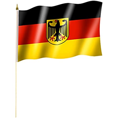 Stockflagge / Stockfahne Germany Crest / Federal Eagle Flag Design Approximately 30 x 45 CM Approximately 60 CM Bar / Pole