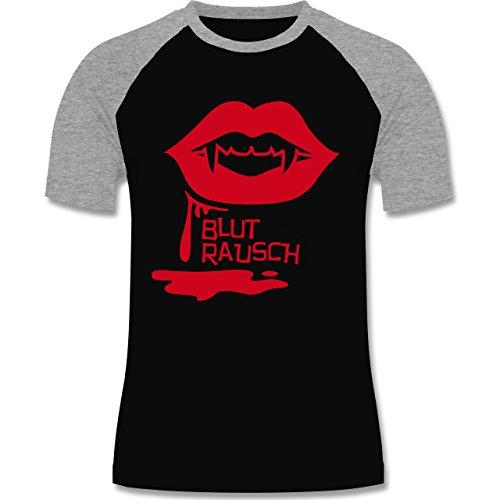 Halloween - Blutrausch - zweifarbiges Baseballshirt für Männer Schwarz/Grau Meliert