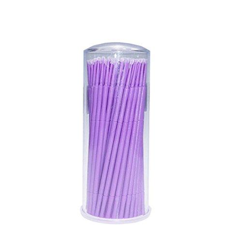Frcolor Micro Brosse Pinceau Jetable Baguettes Cils Cosmétique Maquillage Pinceaux (Violet) - 100 Pièces