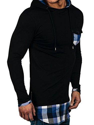 BOLF Herren Sweatshirt Langarmshirt Pullover Pulli Rundhals Classic 1A1 Motiv Schwarz-Blau