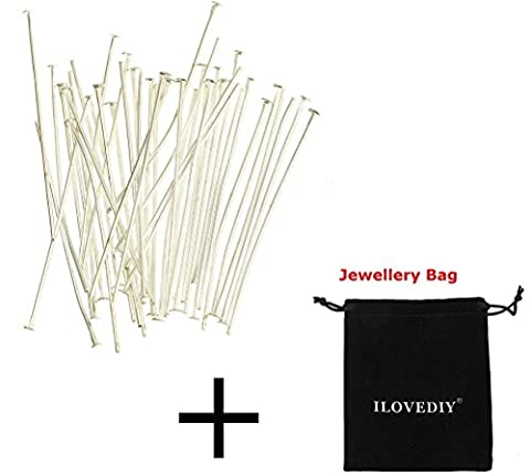 ILOVEDIY 100pcs Silver Plated Head Pins Needles Accessories for Jewellery