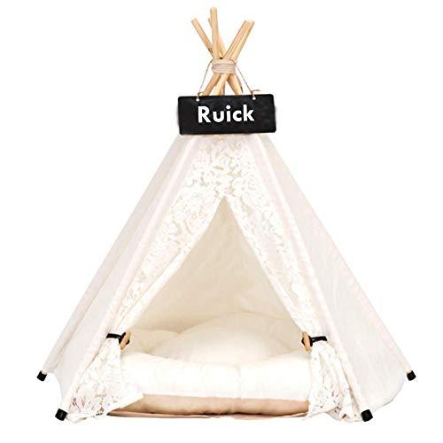 Ruick - Cama para Perros con Encajes para Mascotas, perreras para Mascotas, casita de Juegos para Perros, Gatos, Cama extraíble y Lavable