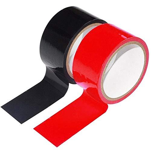 Nastro Adesivo Antiaderente - Senza Colla Non Appiccicoso - Facile da Usare Strap On - 2 Pezzi (Nero e Rosso)