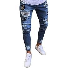 LuckyGirls Pantalones Vaqueros Hombres Rotos Pitillo Originales Slim Fit Skinny Pantalones Casuales Elasticos Agujero Pantalón Personalidad