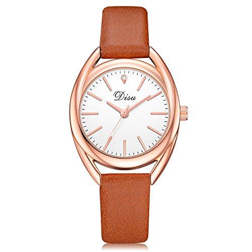 Uhren Damen Art und Weisefrauen Retro Armbanduhr Lederband Uhr Frauen Quarz Analog Uhr Handgelenk kleine Armbanduhr Vorwahlknopf-zarte Uhr Luxusgeschäfts Uhren,ABsoar