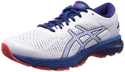 Asics Gel-Kayano 25, Zapatillas de Running para Hombre, Blanco (White/Blue Print 100), 45 EU