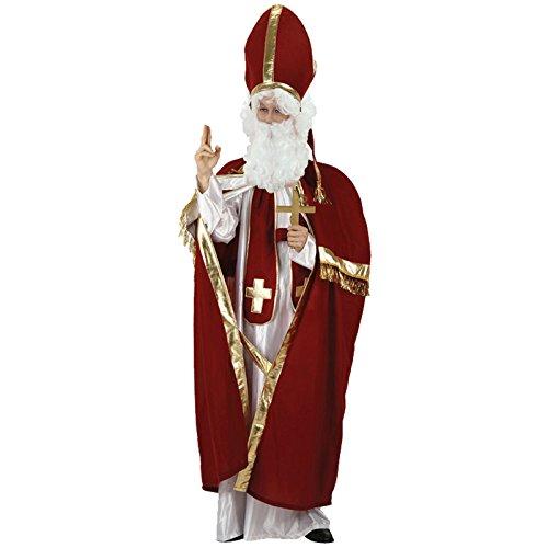 Edles Kostüm Bischof Größe XL mit Perücke Bart und Kreuz Bischofskostüm (Mitra Hut Kostüm)