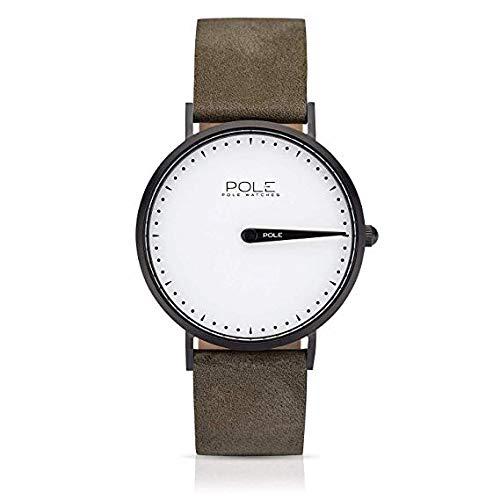 Pole Watches Herren Quarz Analoge Einzeigeruhr in Weiß und Lederarmband in Stein | Modell Classic Everest C-1002BL-NE01