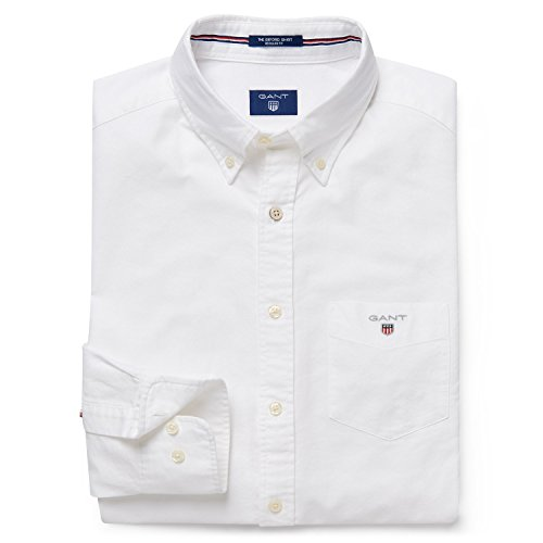 GANT Herren Regular Fit Freizeit Hemd The Oxford Shirt LS BD, Gr. XXX-Large, Grau (White 110) (Herren Hemd Oxford)
