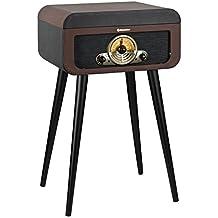 Roadstar HIF-1580BT Retro Plattenspieler mit Standfüßen, CD-Player, Bluetooth und Radio ( CD/MP3, USB, SD, AUX, Line-Out, 40 Watt Musikleistung) braun/schwarz