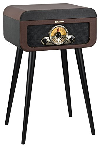 Roadstar HIF-1580BT Retro Plattenspieler mit Standfüßen, CD-Player, Bluetooth und Radio (CD/MP3, USB, SD, AUX, Line-Out, 40 Watt Musikleistung) braun/schwarz - Plattenspieler Radio Cd Mp3