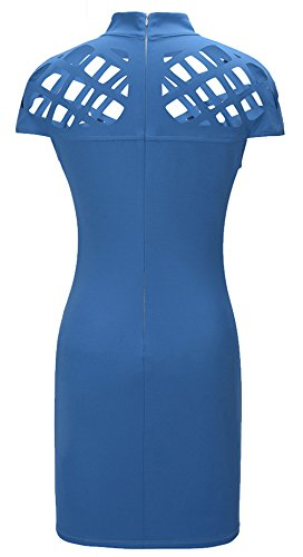 Lannorn Damen Zwei Stil Mode Overall Overalls Jumpsuit Kleid, Fischnetz Lang Hosen Rundhals Ausschnitt Frauen Bodycon Party Abendmode. Kleid Blau