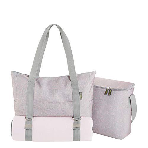 Multiset Stone Grey/Floral Print Handtasche Kühltasche Picknickdecke Einkauf Sport Ausflug Fitness