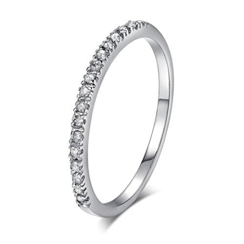(Damen Mädchen Ehering Verlobungsring Ringe Mingfa 2018Einfache Zirkon Diamant Ringe Schmuck, Legierung, Silber, 5.5#)
