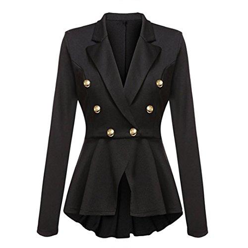Internet Damen Langarm Blazer Rüschen Schößchen Knopf Freizeitjacke Mantel (schwarz, L) (Blazer Kleid Jacke)