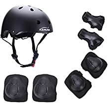 Kamugo equipo de protección ajustable para deportes para niños ajustable, casco, rodilleras, coderas y guantes para bicicleta BMX, motocicleta, skateboard, monopatín y otros deportes extremos , negro