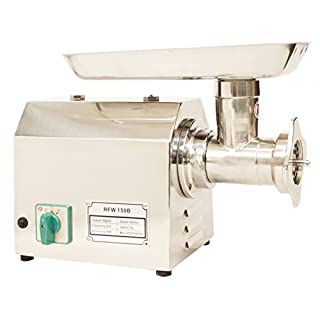 RICOO Mincer Machine RFW-150B Electric Meat Grinder Universal Cutter Sausage Maker Filler Stuffing Machinery with Reverse Gear 150Kg 331lbs per Hour Silver