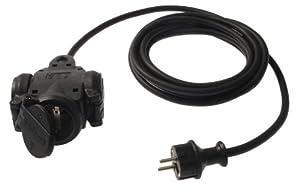 as–Schwabe Multiprise avec 3prises, en caoutchouc, câble H07RN-F Noir, Chantier,