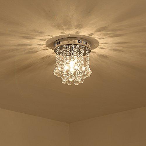 Unimall Modern Kristall Kronleuchter Deckenleuchte klein Rund für Flur Diele Schlafzimmer - Kleine Hängeleuchte