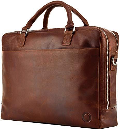 Echt Leder Aktentasche Kano Business Tasche Schultertasche Umhängetasche DIN-A4 Braun Laptoptasche Notebooktasche Messenger Bag DIN-A4 Tasche Braun