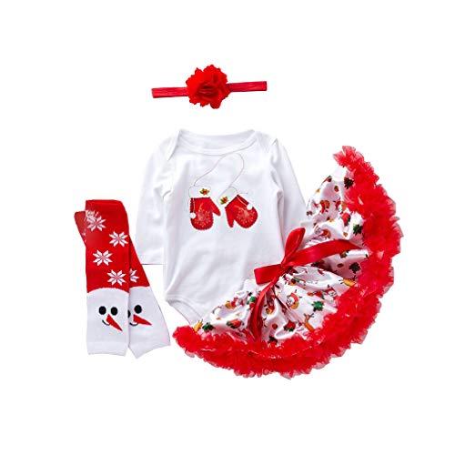 mama stadt 4PCS Baby Mädchen Weihnachtskostüm Party Langarm Baumwolle Romper +Tütü Tüllrock+Stirnband +Strumpf Kleidung ()