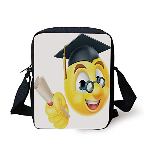 ji Emoticon Smiley with Glasses and Cap Diploma Hardworking Student,Multicolor Print Kids Crossbody Messenger Bag Purse ()