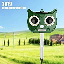 MOHOO Repulsif Chat Ultrason Solaire Chat Repulsif Chat Exterieur Ultrason Chat Animaux Nuisibles 5 mode Fréquence Réglable pour Jardins Champs Pépinières-2020 Nouvelle Version
