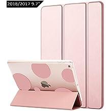 Dailylux Funda Nuevo iPad 9.7 2017/2018 Carcasa Auto-Desbloquear y Función de Soporte Ligera de Cuero Sintético y Plástico Duro Transparente Esmerilado Cáscara para Apple New iPad 2017/2018 de 9.7 pulgadas,Burbuja romántica Oro rosa