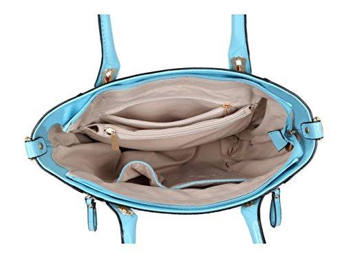 LeahWard® Essener Patent Große Größe Schulter Tragetaschen Damen Handtaschen mit Gurt Damen Mode Qualität Kunstleder Handtasche CWKP9311A CWKP9258 CWKP9258-blau