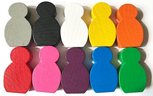 Spieltz 52344: Große beklebbare Spielfiguren aus Holz für Brettspiele, Größe 21x34x8 mm, 10 Stück Farblich Gemischt (Weiß, Gelb, Orange, Rot, Blau, Grün, Pink, Lila, Grau, Schwarz). -