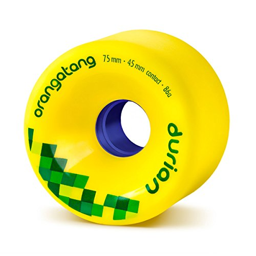 Orangatang Durian 75 mm 86a Freeride Longboard Skateboard Wheels (Yellow, Set of 4) -