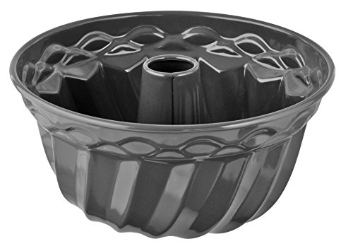Dr. Oetker Gugelhupfform Ø 22 cm Exclusive, traditionelle Backform für köstlichen Gugelhupf, Kuchenform mit Emaille-Versiegelung (Farbe: Grau-Braun/Crème), Menge: 1 Stück