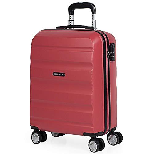 ITACA - Maleta de Viaje 55x40x20 cm Cabina Trolley ABS Lisa. Equipaje de Mano. Pequeña Rígida Práctica y Ligera. 4 Ruedas y Candado. Calidad y Diseño. Viajes Cortos, T71650, Color Coral
