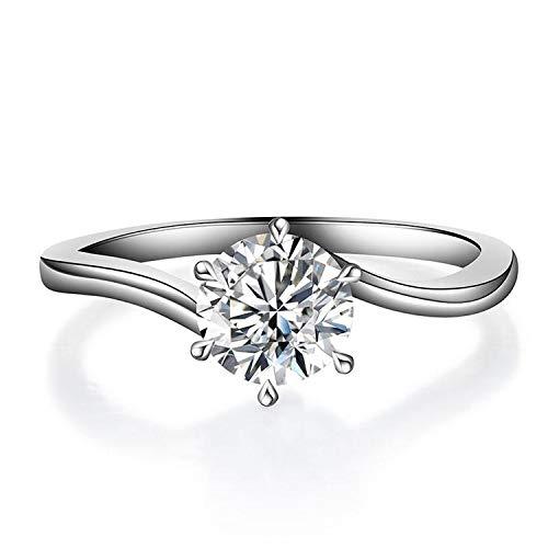Anello di fidanzamento in argento perfetto e alla moda, con zirconi bianchi, ideale come regalo di nozze, metallo, a6, argento