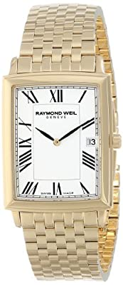 Raymond Weil Men's Gold Tone Steel Bracelet & Case Swiss Quartz White Dial Analog Watch 5456-P-00300