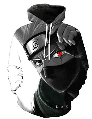 Sudaderas Naruto Hombres Kakashi Sudadera con Capucha...